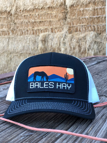 Bales Hay Sunset Horse Patch Hat - Black/White