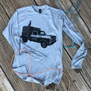 Loaded Flat Bed Ford Long Sleeve - Heather Grey