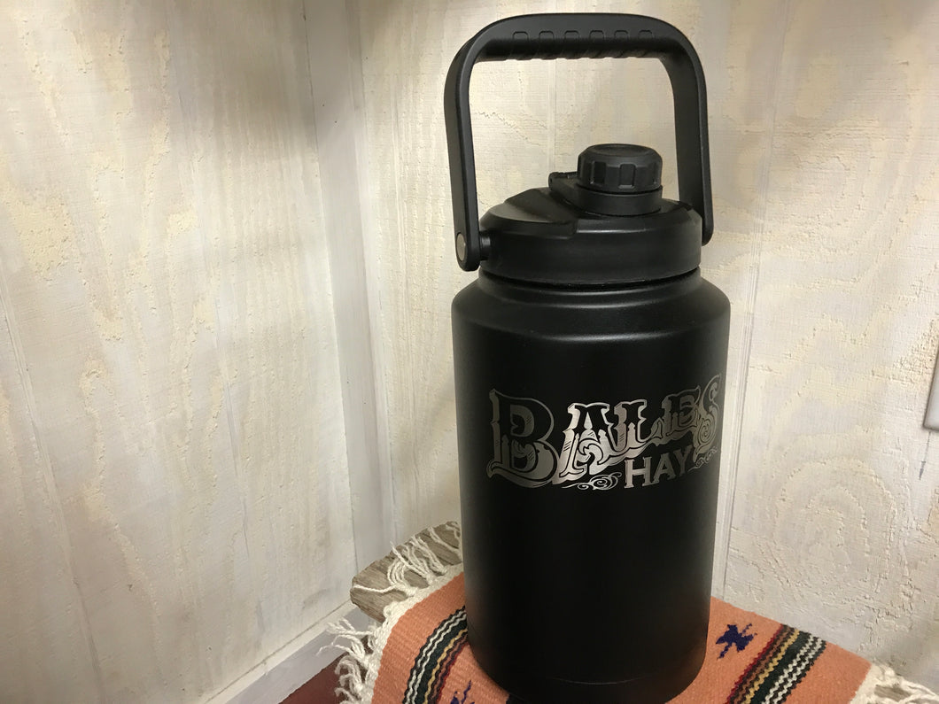 Growler 128oz Black with Laser Inscription
