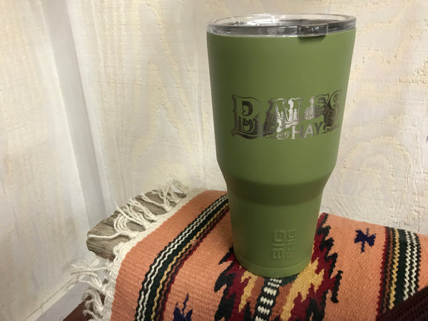 30 oz Green Tumbler Laser Inscription