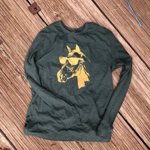 Cool Horse Long Sleeve - Heather Emerald