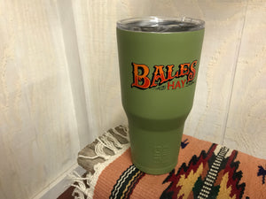 Bales Hay Tumbler: 30oz Green with Full-color Inscription