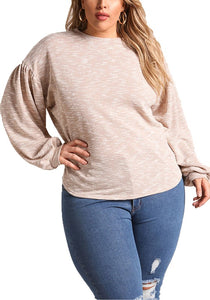 Curvy Marled Puff Sleeve Sweater Top - Superior Boutique