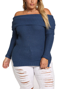 Curvy Chunky Knit Off Shoulder Sweater Top - Superior Boutique