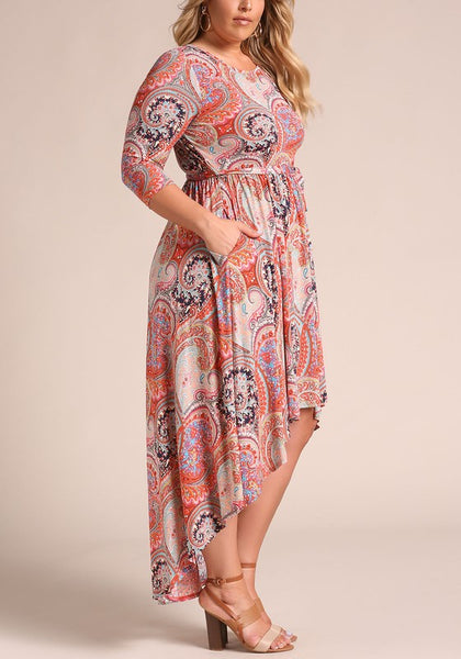 Curvy Paisely Hi-Lo Maxi Dress - Superior Boutique