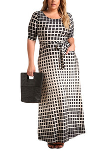 Curvy Monochrome Grid Maxi Dress