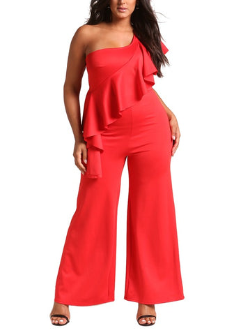 Curvy One Shoulder Waterfall Ruffle Jumpsuit