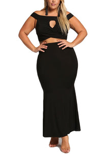 Curvy High Rise Maxi Skirt