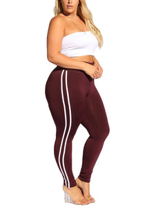 Curvy Side Striped Leggings - Superior Boutique