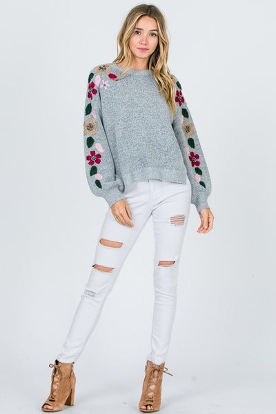 Flower Embroidery Trim Knit Sweater - Superior Boutique
