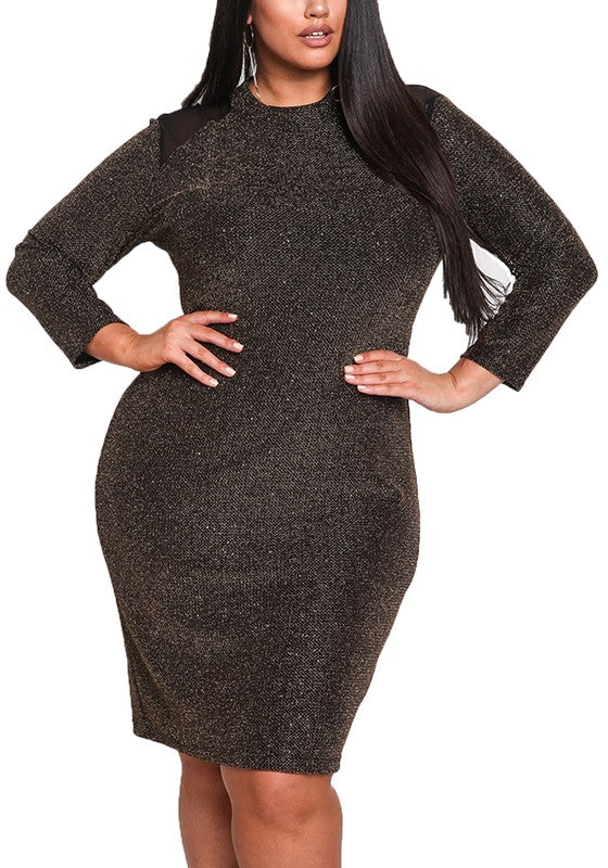 Curvy Mesh Shoulder Sparkle Bodycon Dress - Superior Boutique