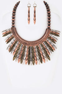 Tribal Metal Feather Collar Necklace Set - Superior Boutique