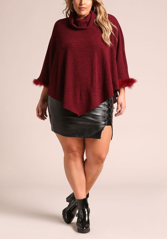 Curvy Faux Fur Poncho Sweater - Superior Boutique