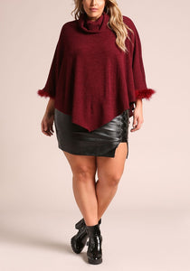 Curvy Faux Fur Poncho Sweater