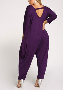 Curvy Back Cut Out Harem Jumpsuit