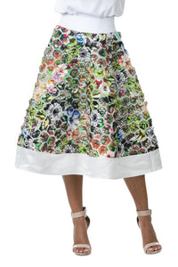 Print Patch Detail Flare Midi Skirt