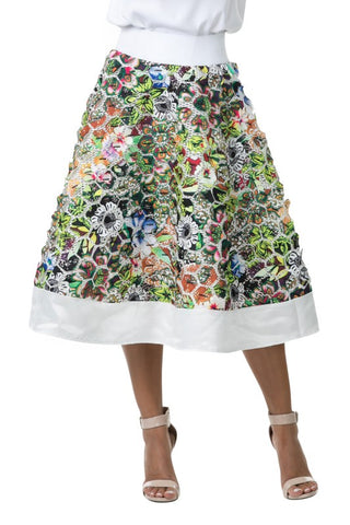 Final Sale Print Patch Detail Flare Midi Skirt