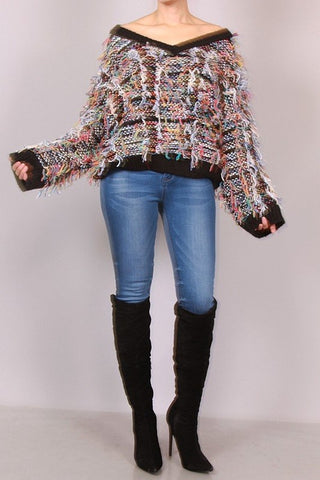 Multi Color Fringe Wide-Neck Sweater - Superior Boutique
