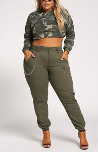 Curvy Chain Detail Cargo Jogger Pants - Superior Boutique