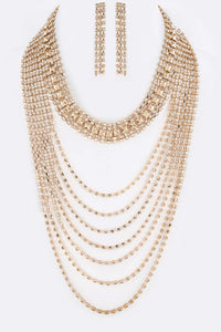 Sophisticated Rhinestone Layer Necklace (Gold)