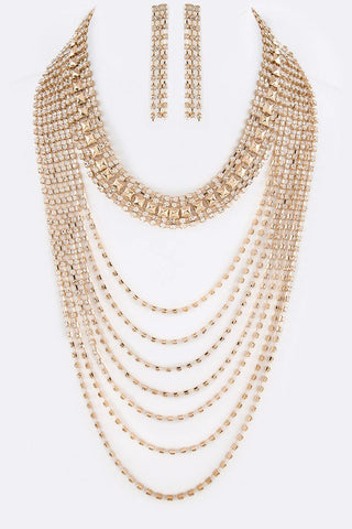 Sophisticated Rhinestone Layer Necklace (Gold) - Superior Boutique