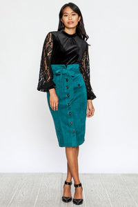Faux Suede Button Down Pencil Skirt - Superior Boutique