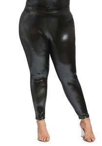 Curvy Metallic Iridescent High Rise Leggings