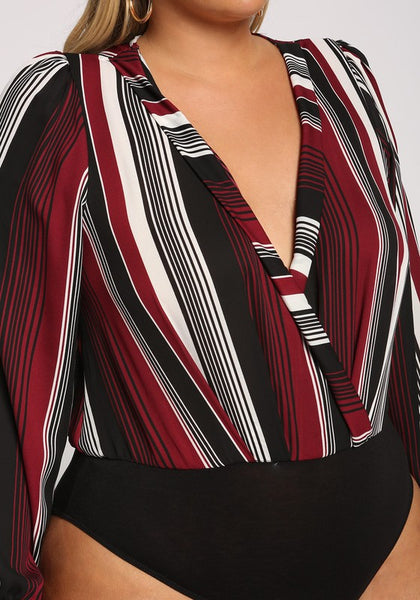 Curvy Stripe Plunge Puff Sleeve Bodysuit - Superior Boutique