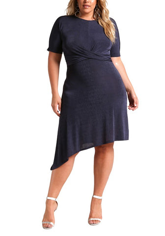 Curvy Twisted Asymmetrical Flared Dress - Superior Boutique