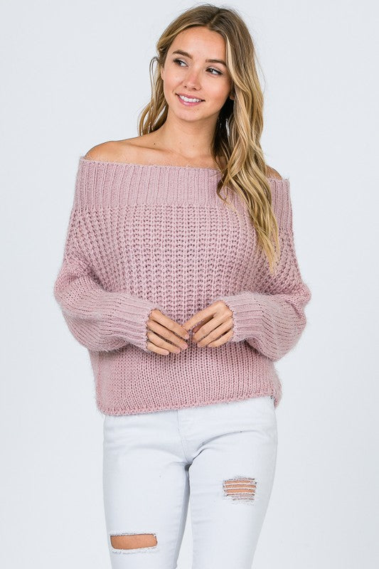 Off Shoulder Solid Knit Sweater - Superior Boutique
