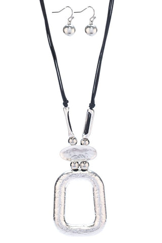 Dangling Pendant Necklace Set - SILVER