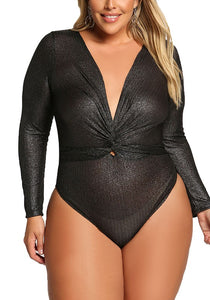 Curvy Plunge Twisted Metallic Bodysuit