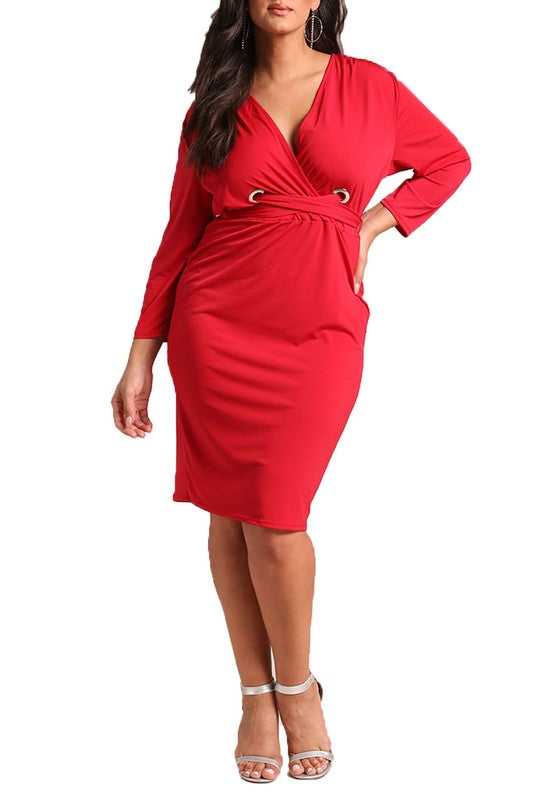 Curvy Cross Strap Bodycon Dress - Superior Boutique