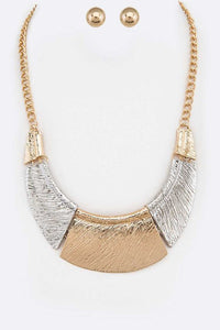Two Face Necklace Set - Two-tone