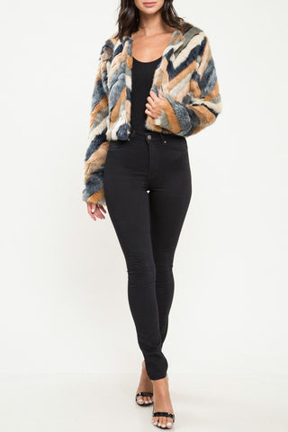 Faux Fur Multicolored Chevron Print Jacket