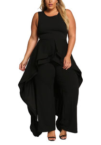 Curvy Cascading Multi Layered Flared Jumpsuit