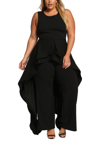 Curvy Cascading Multi Layered Flared Jumpsuit - Superior Boutique