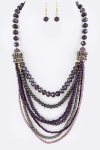 Designer Mixed Crystal Layered Necklace Set - Superior Boutique