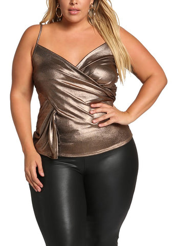 Curvy Metallic Cross Over Tank Top - Superior Boutique