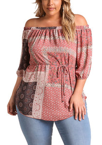 Curvy Off Shoulder Multi Printed Blouse