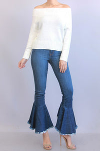 Hi-Lo Bell Bottom Denim Pants - Superior Boutique