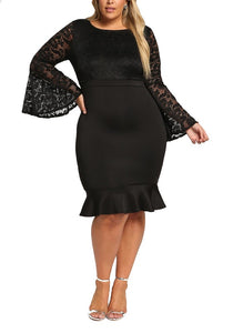 Curvy Lace Bell Sleeve Bodycon Dress - Superior Boutique