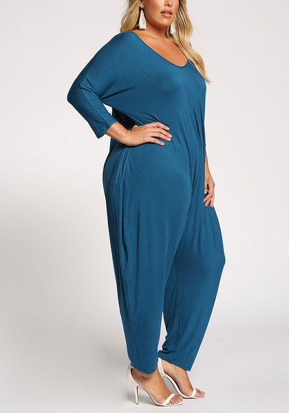 Curvy Back Cut Out Harem Jumpsuit - Superior Boutique