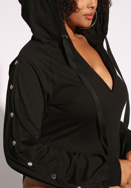 Curvy Plunge Button Sleeve Hooded Bodysuit - Superior Boutique