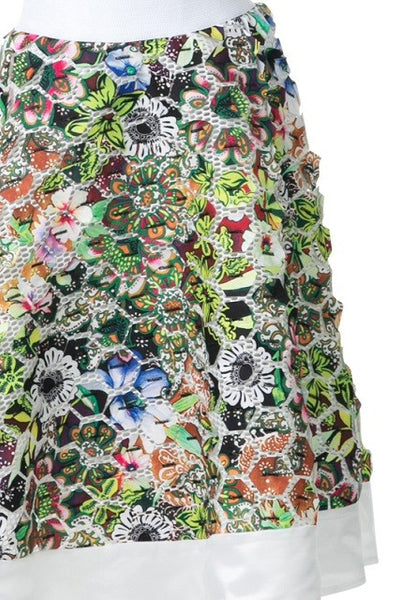 Print Patch Detail Flare Midi Skirt - Superior Boutique