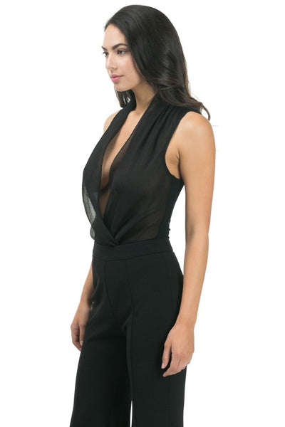 Front Surplice Sleeveless Bodysuit - Superior Boutique