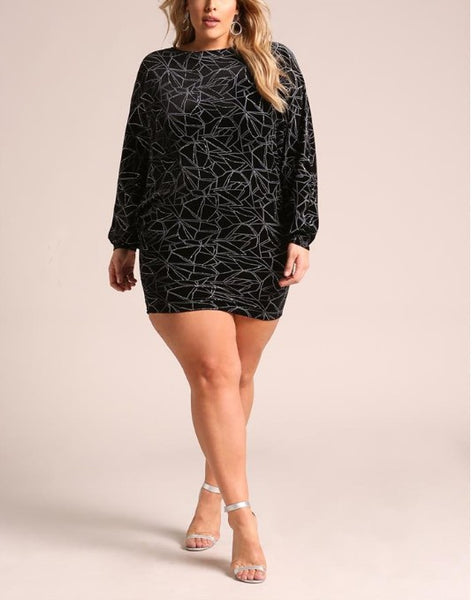 Curvy Velvet Sparkle Batwing Sleeve Dress - Superior Boutique