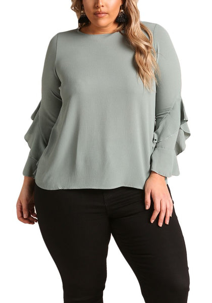 Curvy Tiered Bell Sleeve Blouse - Superior Boutique