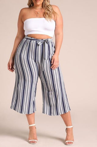 Curvy Pinstripe Waist Tie Palazzo Pants - Superior Boutique