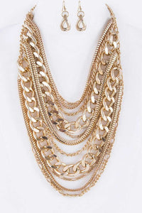 I Run The World Gold Chain Necklace Set